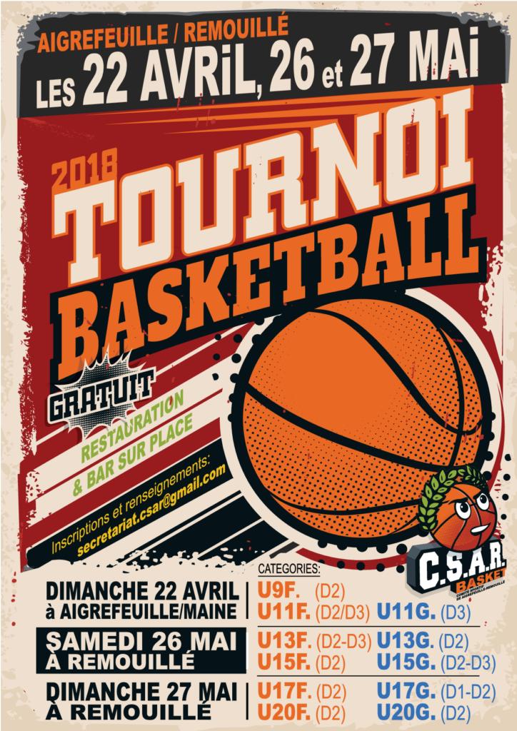PRINT AFFICHE A4 Tournoi Basket - 18 Janvier 2018